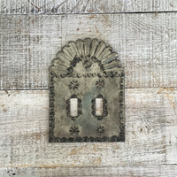 Light Switch Cover Double Lightswitch Plate Mid Century Decor Tin Light Switch Cover Mexican Light Switch Plate Folk Art Cottage Chic Decor