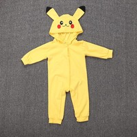 Pikachu Cosplay Costume Mystic Instinct Valor Ash Hooded Toddler Clothes Infant Boy Girl Jumpsuit Halloween Baby RompersKawaii Pokemon go  AT_89_9