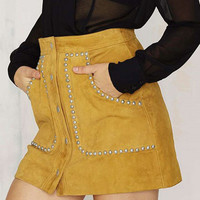 Yellow Faux Suede High Waist Button Up Studs A-line Skirt