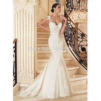 Sexy Mermaid Backless Wedding Dress 2017 V Neck Lace Applique Sleeveless Formal Long Elegant Bridal Gown