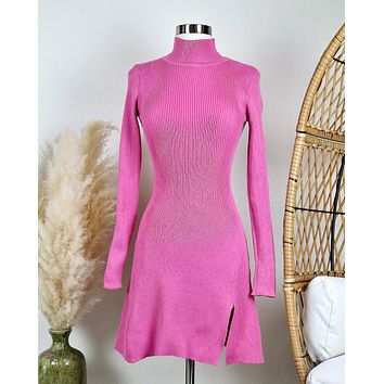 All The Rumors Are True Long Sleeve Ribbed Sweater Dress in Magenta