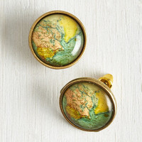 Quirky Map Out of It! Earrings by ModCloth