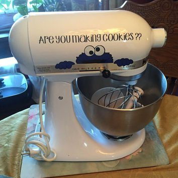 """KitchenAid Mixer Vinyl Decal - Sesame Street Cookie Monster 7"""" inch - Select from 3 different sayings! Glitter Colors Available!"""