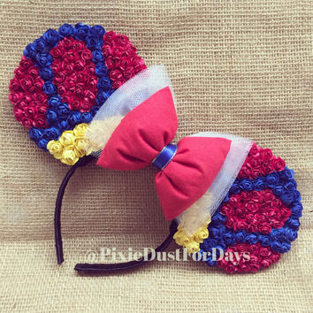 Snow White Floral Ears, Snow White ears, Snow White Mickey ears, Minnie ears
