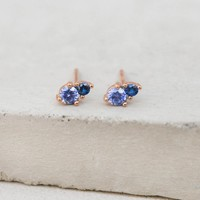 2-Stone Studs - Rose Gold + Blue