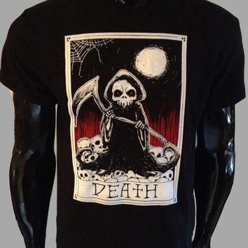 Death Tarot Card T-Shirt Mens Womens Grim Reaper Goth Rock Punk Biker Skull