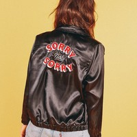 Sorry Not Sorry Satin Jacket (Black)