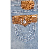 True Religion Joey Brown Python Jeans in Saddle Back