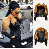 Black Leather Fur Jacket FJ11