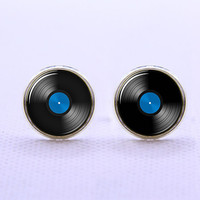 Vinyl Record   Cufflinks -Mens Silver Plated Cufflinks,Accessoires for Man-Mens Gift ,Gift for Daddy ,Best Man