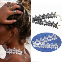 Ethnic white black Choker Necklaces hollow out lace collar tattoo Gothic Charms Statement accessories jewelry for couple lovers