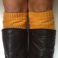 Mustard Yellow Boot Cuffs Cable Knit Boot Liners Toppers