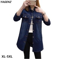 Trendy Plus Size XL-5XL Denim jacket Spring Autumn New Female Costume casual tops Shirt Style Coat Fat MM Cowboy Outerwear YAGENZ A554 AT_94_13