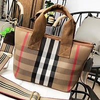 Burberry Fashion New Stripe Leather Shoulder Bag Women Handbag