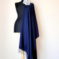 Dark Navy Shawl, Midnight Blue Solid Color Soft Pashmina, Cashmere Silk  Elegant Wrap, Bridesmaid Shawl, Wedding Shawl, Removable Brooch Pin