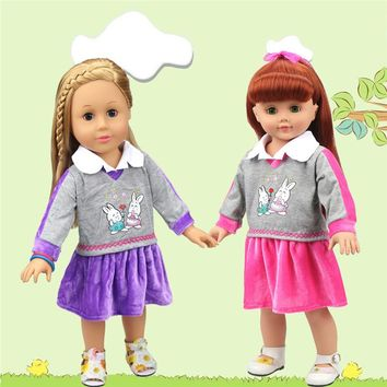 Free Shipping 18 inches American Girl Doll Clothes Lovely Rabbits Pattern Sport Dress Best Toys For Girl