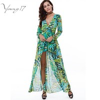 Young17 New Arrival Sexy Boho Jumpsuit Green Chiffon Printed V Neck Overalls for Women Long Sleeve Beach Swimwear Rompers Shorts