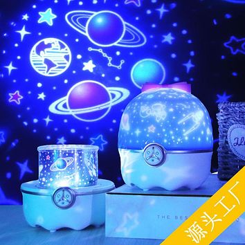 Starry Sky Projector Lamp Night Light Romantic Rotating Music Table Lamp Children Girls Holiday Atmosphere Light Creative Gift