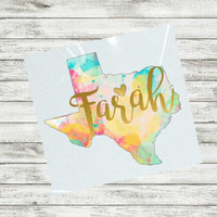 Watercolor Decal, Texas decal, Sticker for Yeti cup, Home State, Window Decal