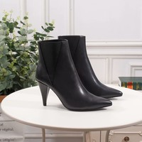 YSL Yves Saint Laurent Trending female leather Fashion black Zipper heels Boots high top shoes top quality