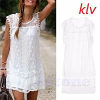 KLV Women Lace Short Sleeve Dress Casual Femininos Crochet Floral Lace Embroidery Dresses Sheer Boho People Style Women Magenta