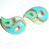 Tri-colored Paisley Shaped AVON Earrings