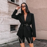 Women Fashion Temperament Lapel Long Sleeve Solid Color V-Neck Suit Coat