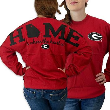 Georgia Bulldogs Women's Home Spirit Jersey Long Sleeve Oversized Top Shirt