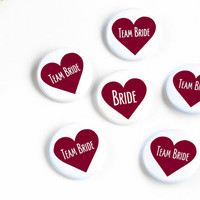 Burgundy Wedding Pin, Maroon Bridal Button, Team Bride Badges, Red Heart Pins, Classy Bachelorette, Party Buttons, Bridal Shower Favor