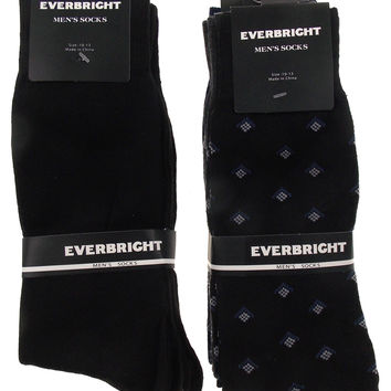6 Pairs Mens Dress Socks Polyester 10-13 Gray Navy Solid Black Business Fashion