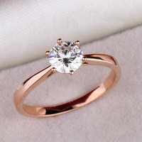 High quality 18K rose Gold Plated Classic 6 claws 1.2 carat  simulated diamond ring