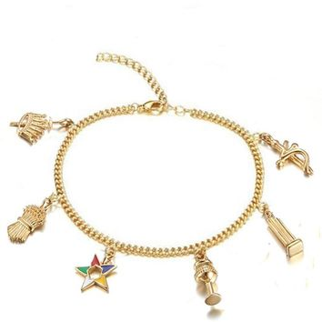 Elegant Golden Masonic Jewelry OES Charms Bracelets Ankle Order of Eastern Star