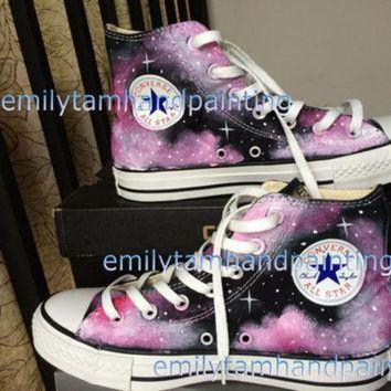 CREYUG7 Custom Converse Galaxy Sneakers Hand Paint Galaxy Shoes Purple Galaxy Kicks Reserved f