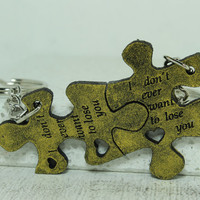 Puzzle Key chains for Couples Set of 2 puzzle key chains I don't ever want to lose you S19