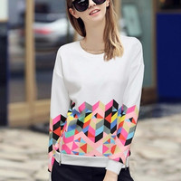 'The Donata' White Geometry Printed Pullover