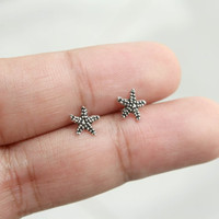 Sterling Silver Starfish Stud Earrings - Tiny Starfish Stud Earrings - Starfish Jewelry - Tiny Silver Studs - Cartilage Studs - Gift for her