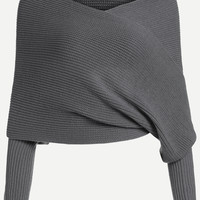 Dark Grey Off The Shoulder Overlap Sweater