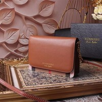 BURBERRY WOMEN'S 2018 NEW STYLE LEATHER INCLINED SHOULDER BAG