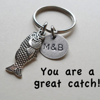 Fish Keychain, Couples Keychain, Anniversary Gift for Boyfriend, Gift for Husband, Hand Stamped Key Chain, Couples Initials, Customized Gift