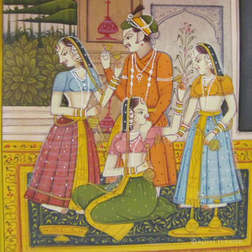 Rajasthan Miniature Painting - Mughal King Love Scene Life Style