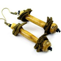 Tribal Dangle Earrings made from Natural Woods and Genuine Suede Patches