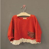 Vintage Inspired Girls Clothes Helen Red sweater Top for Little Girls   Vindie Baby