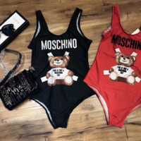 Moschino Cute Bear Prints Halter One Piece Swimsuit Bikini