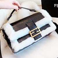 Fendi Fashion New Fur Leather Shopping Leisure Shoulder Bag Crossbody Bag