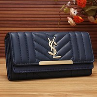 YSL Women Fashion Shopping Leather Buckle Wallet Purse
