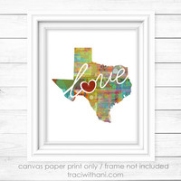 Texas Love - TX Canvas Paper Print:  A Modern and Colorful Abstract Watercolor Style Original Art Piece / Home State Love Map