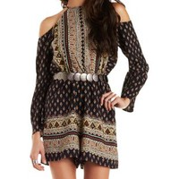 Strappy Cold Shoulder Printed Romper with Cut-Out