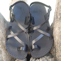 Jesus sandal Flat Biblical handmade black leather for men camel sandal