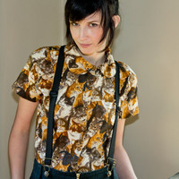 Cat shirt  button up peter pan collar vintage inspired by Minxshop