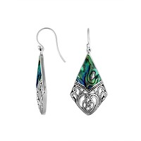 AE-6199-AB Sterling Silver Diamond Shape Earring With Abalone Shell